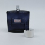 square empty glass perfume bottle with silivery cap